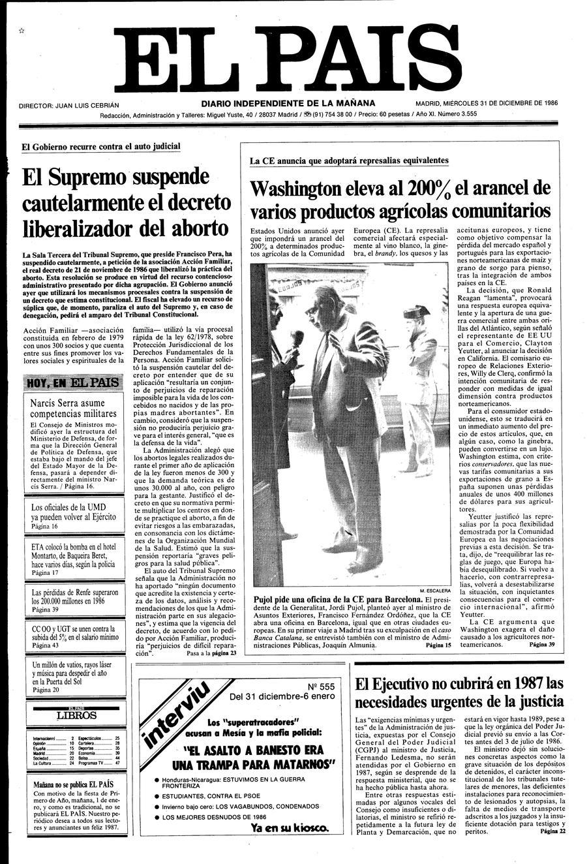 31 de Diciembre de 1986