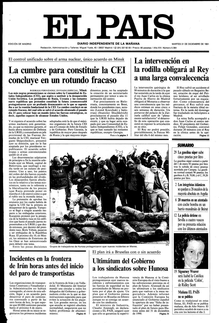 31 de Diciembre de 1991