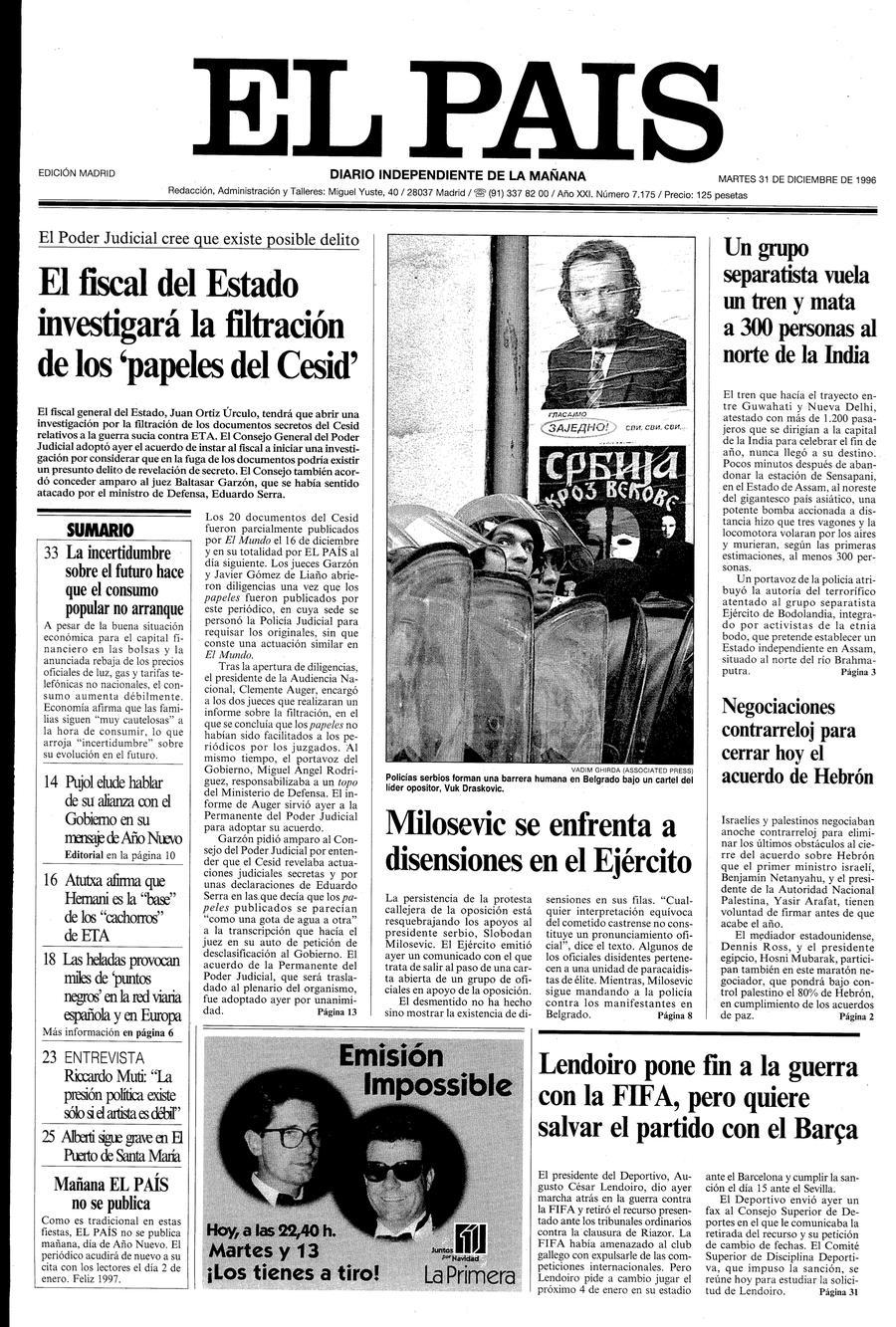 31 de Diciembre de 1996