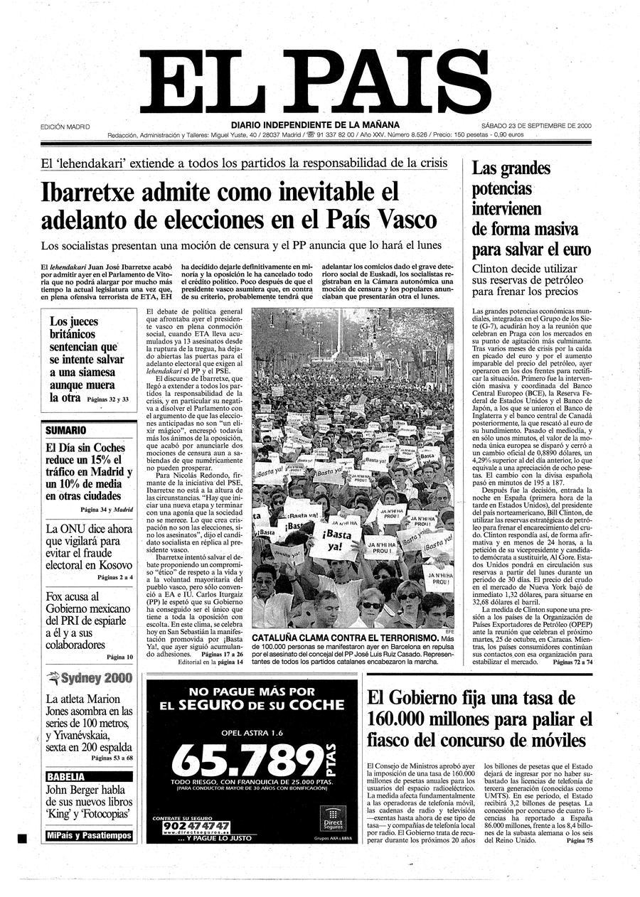 Portada 23 De Septiembre De 2000 Aniversario El Pa S # Muebles Peralta