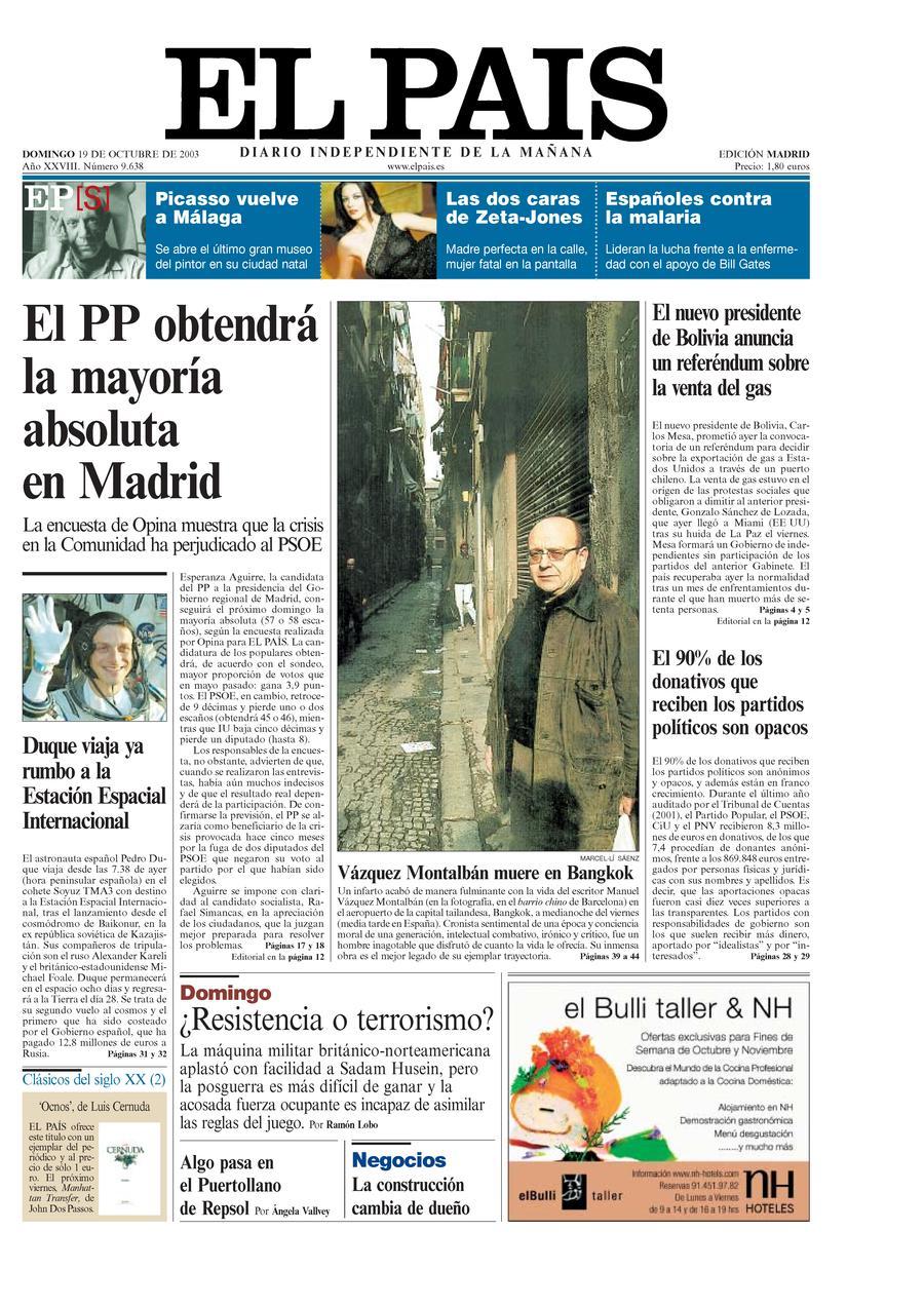 Portada 19 de octubre de 2003 aniversario el pa s for Noticias actuales del mundo del espectaculo
