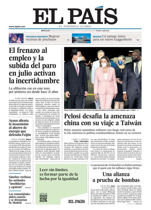 Portada de El Pa&Iacute;s