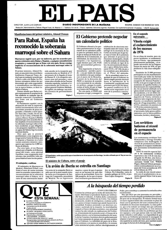 Calendario De 1978.Portada De El Pais Del 04 03 1978