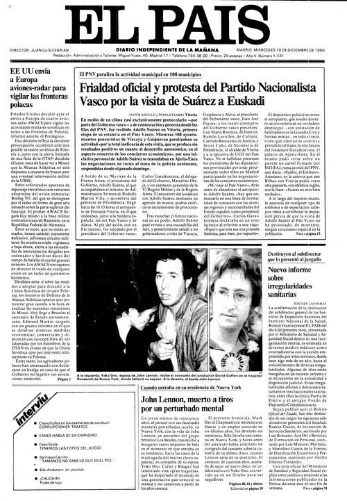 Portada de EL PAÍS del 10-12-1980