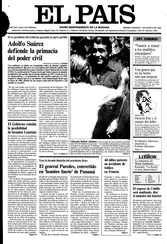Portada de EL PAÍS del 01-08-1982