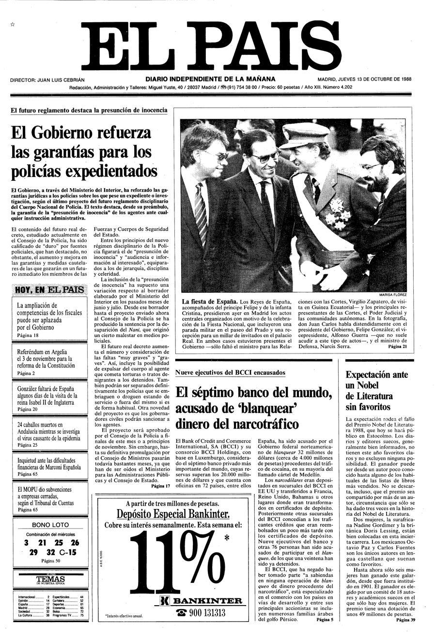 Portada 13 de Octubre de 1988 - Aniversario EL PAÍS