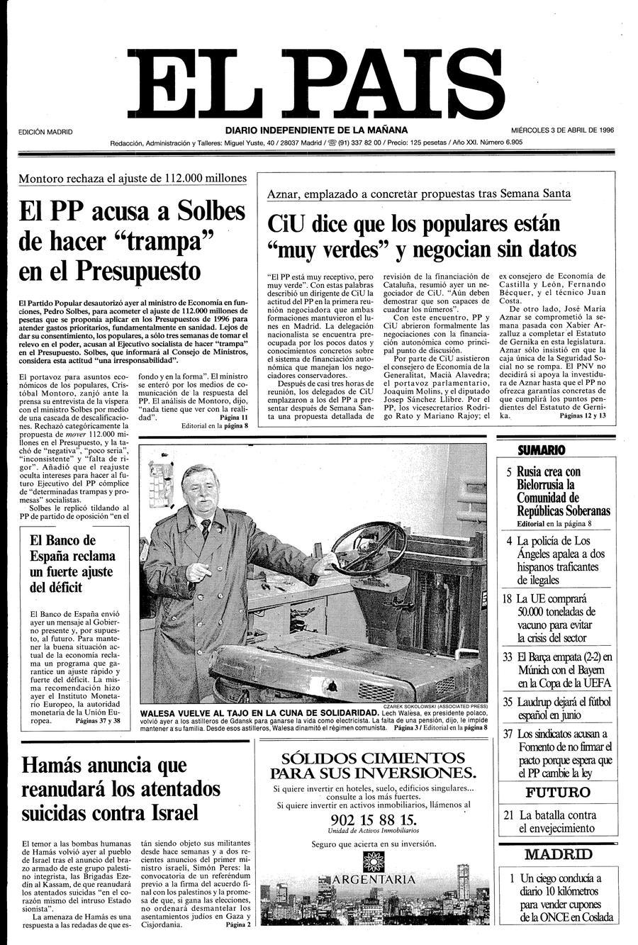 Portada de EL PAÍS del 03-04-1996