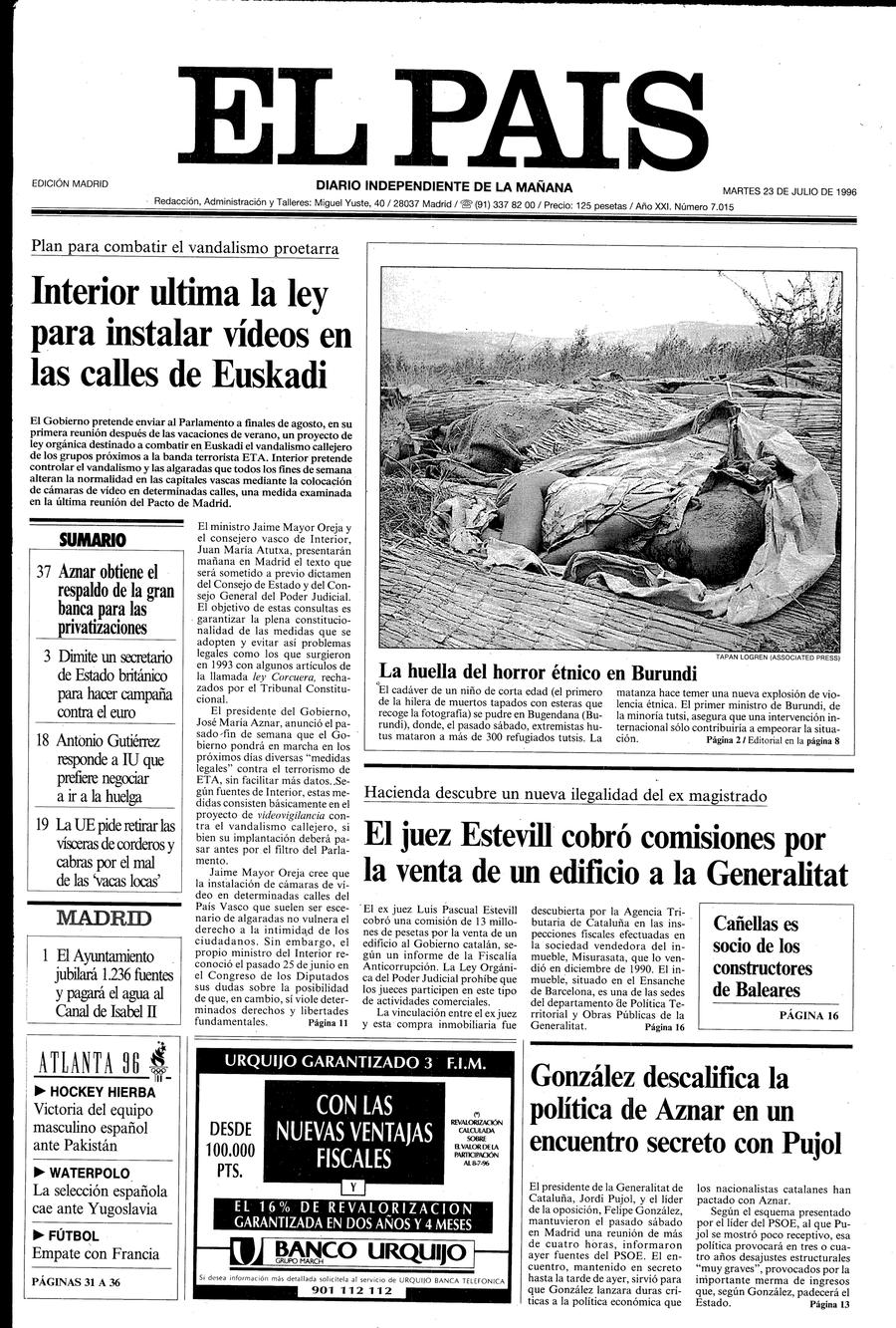 Portada de EL PAÍS del 23-07-1996