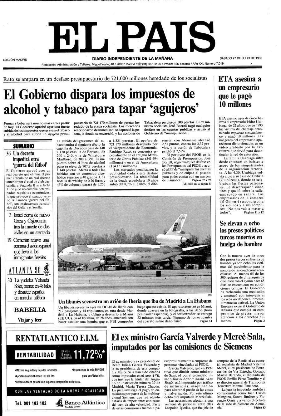 Portada de EL PAÍS del 27-07-1996