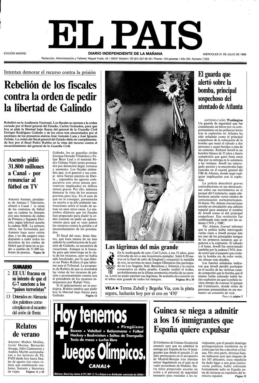 Portada de EL PAÍS del 31-07-1996