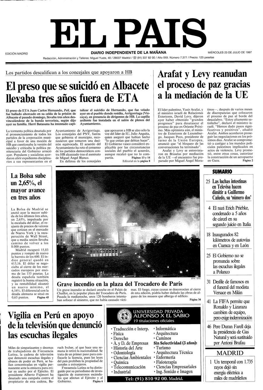 Portada de EL PAÍS del 23-07-1997