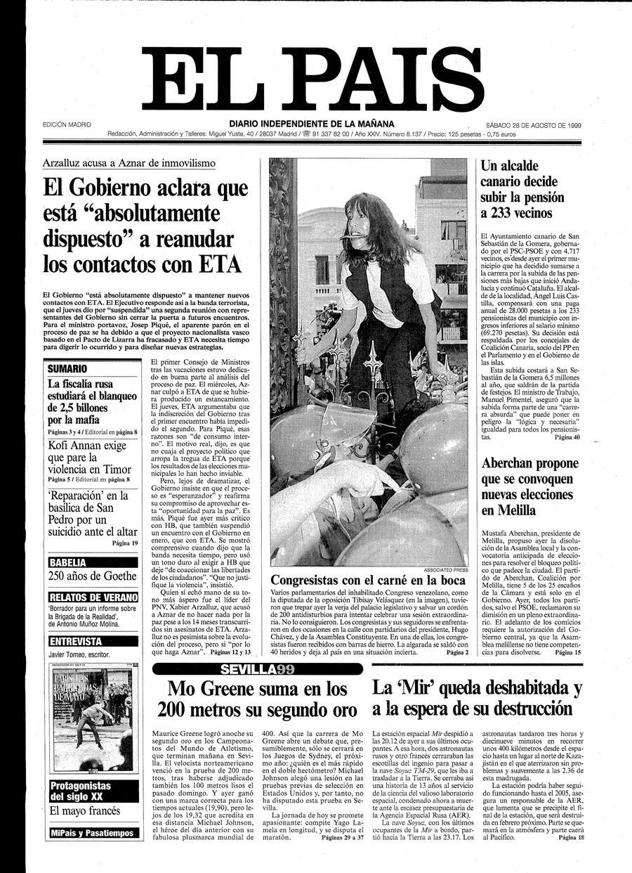Portada de EL PAÍS del 28-08-1999