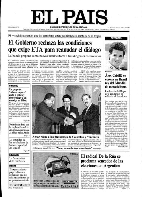 Portada de EL PAÍS del 25-10-1999
