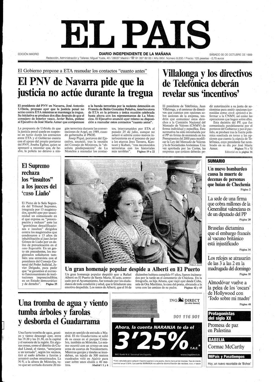 Portada de EL PAÍS del 30-10-1999