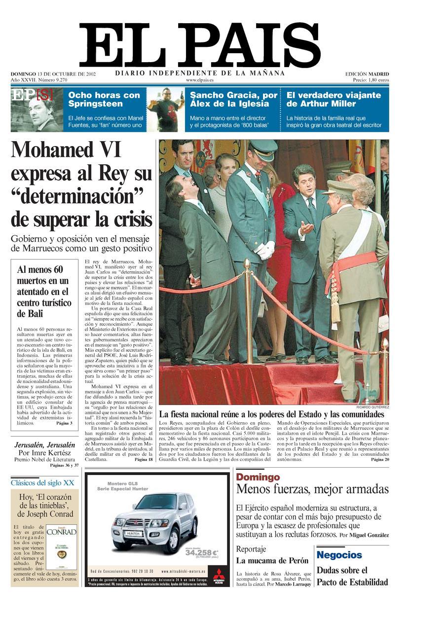 Portada 13 de Octubre de 2002 - Aniversario EL PAÍS
