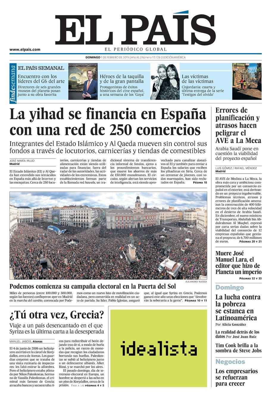 Portada de EL PAÍS Edición América del 01-02-2015