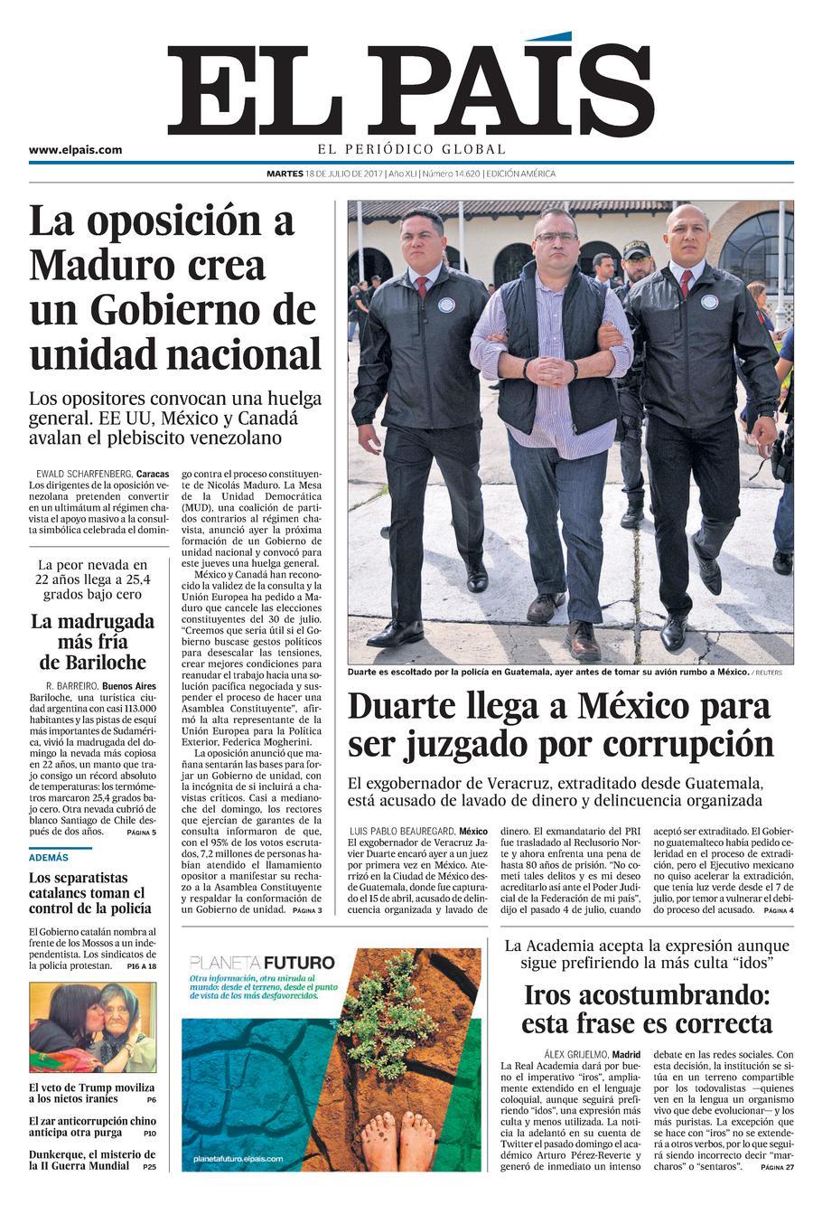 Portada de EL PAÍS Edición América del 18-07-2017