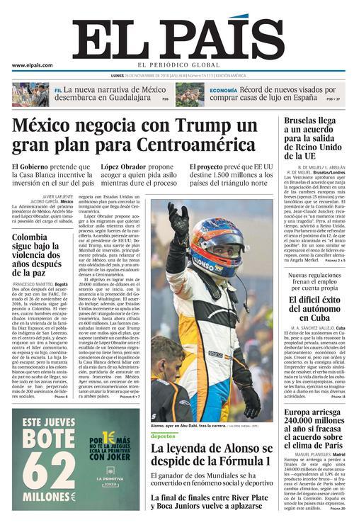 01c79161b4d9 Portada de EL PAÍS Edición América del 26-11-2018
