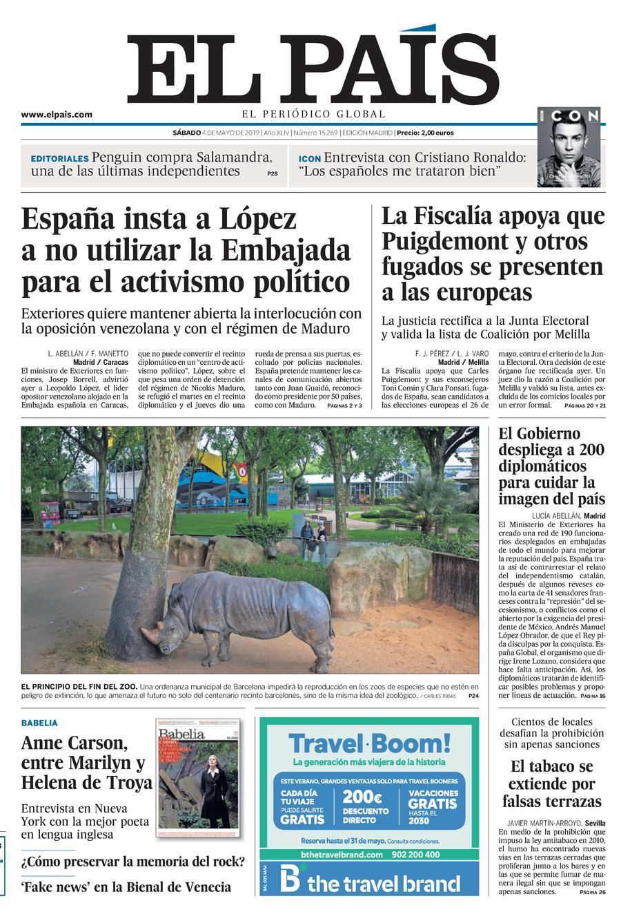 Portada De El País Del 04 05 2019